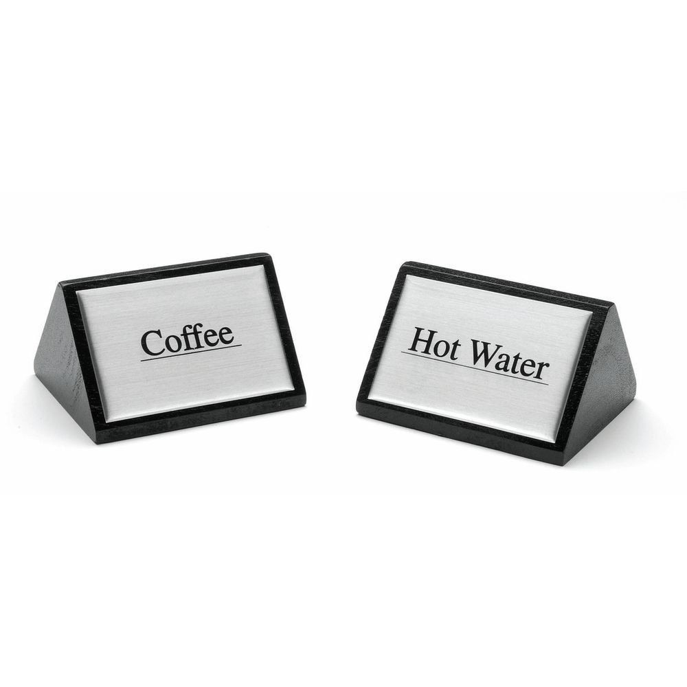 HUBERT Coffee Service Sign Triangular Wooden Beverage Sign Decaf - 3''W x 1 3/4''H by HUBERT