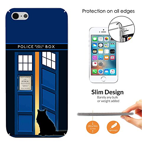 453 - Doctor Who Tardis Call Box Cat Open Door Design iphone 5 / 5S Hülle Fashion Trend Case Back Cover Metall und Kunststoff