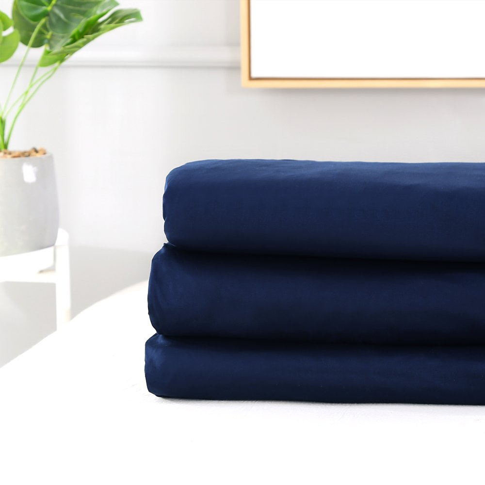 Homaxy 100/% Natural Cotton 400 Thread Count Premium Hypoallergenic Fitted Sheet Only Navy Blue Extra Deep Pocket Wrinkle Free Mattress Protectors Queen Size for Snug Sleep