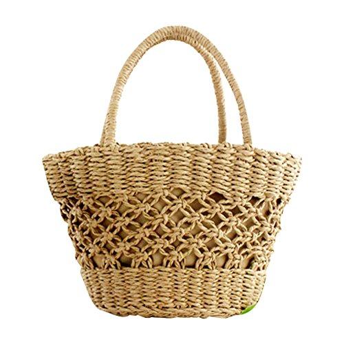 plage à sac bandoulière Sac main yunt demi fourre tissé pour à tout sac bambou paille de sac à les femmes en main lune sac Brown Sac fourre de Light de voyage tressé de tout à la bandoulière apFqwx