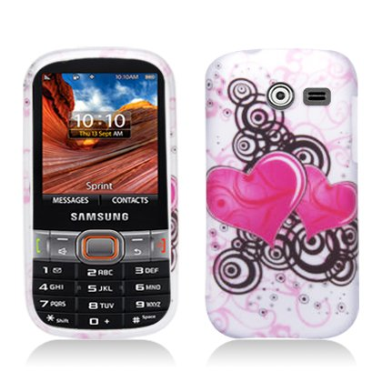p2s88 Twin Pink Hearts Design Snap on Rubberized Crystal Hard Skin Phone Cover Case for Samsung Array / Montage / M390