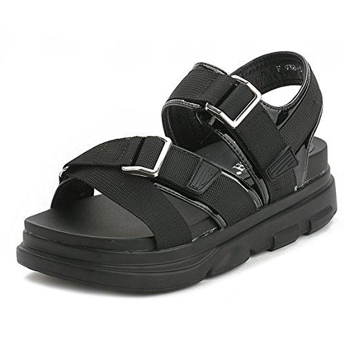 Xing Lin Damen Sandalen Neue Frauen Sandalen Sandalen Outdoor Schuhe Casual Sport Sommer Klettverschluss Schuhe Student Sandalen black