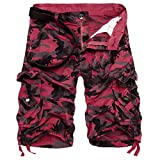 PASATO Fashion Mens, Casual PantsPocket Beach Work Casual Short Trouser Shorts (Red,36)