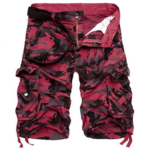 PASATO Fashion Mens, Casual PantsPocket Beach Work Casual Short Trouser Shorts (Red,38)