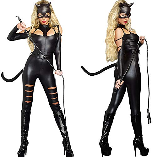 DZXYQ Sexy Wild Catwoman Tight Jumpsuit Bar Night Club Party Patent Leather Onesies Costumes