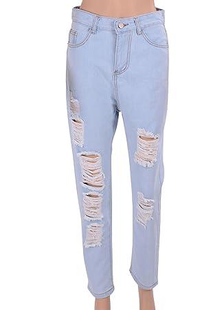 c664797a34 Pantalones Vaqueros Mujer Elásticos Slim Agujeros Flacos Skinny Jeans Rotos Pantalones  De Lápiz Zarco S  Amazon.es  Deportes y aire libre