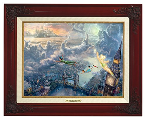 Thomas Kinkade Canvas Classic Tinker Bell and Peter Pan Fly to Neverland - 12'' x 16'' - Brandy Frame - 51999