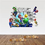 Super Mario and Friends Breaking through the wall | 3D Removable Wall Decal/Sticker