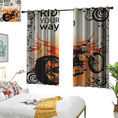 (Warm Family Grommet Curtains Manly,Motorcycle Image with Ride Your Way Text Peace Sign Freedom Action Freestyle, Black Orange Cream 54
