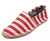 Popuus Women's Fashion Stripes Canvas Shoes Loafers for Couples Red 4 B(M) US
