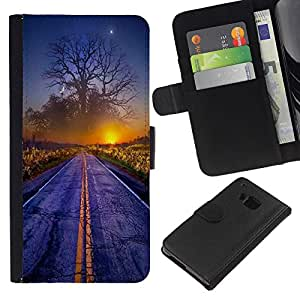 ZCell / HTC One M9 / Magical World Sunset Tree Art Road Mist Dawn / Caso Shell Armor Funda Case Cover Wallet / Mágico Mundo Puesta de sol