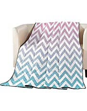 Arts Print Quilt Throw Bedspread Lightweight Soft All Season Coverlet Chevron Zig Zag Ripple Warm Bedding Comforter Duvet Insert Blanket for Kids Children Girls Boys