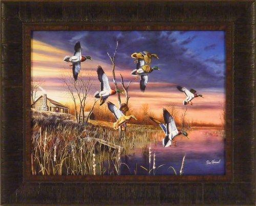 Wildlife Ducks (Final Approach by Jim Hansel 17x21 Mallards Ducks Framed Art Print Wall Décor)