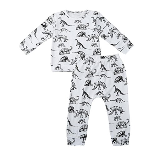 Dinosaur Print MALLCAS Newborn Baby Boys Tops Pants Set Suit Outfits Clothes (70, (Abc Hooded Towel Set)