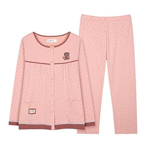 Pijamas de damas en primavera/ servicio a domicilio cómodo/Primavera y otoño largo manga pijamas de algodón A
