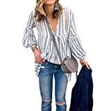 ZXZY Women Long Sleeve V Neck Hollow Out Floral Print Shirt Tops Long Blouse Tee, XX-Large,  Blue