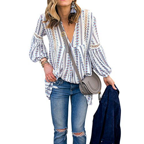 ZXZY Women Long Sleeve V Neck Hollow Out Floral Print Shirt Tops Long Blouse Tee, Small,  Blue (Peasant Blouse)