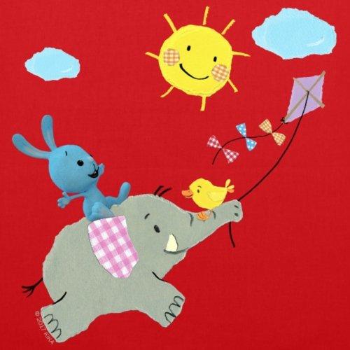Spreadshirt KiKANiNCHEN Kaninchen Reitet Auf Elefant Stoffbeutel Rot