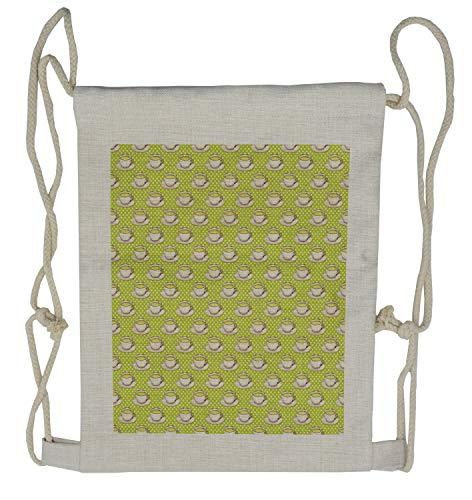 wstring Backpack, Vintage Cups and Polka Dots, Sackpack Bag ()