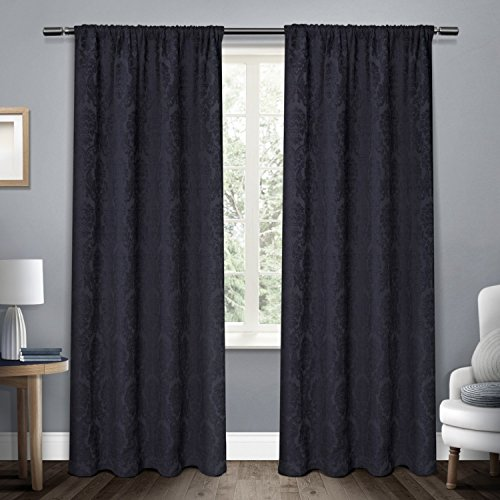 Exclusive Home Damask Medallion Heavyweight Chenille Jacquard Room Darkening Rod Pocket Window Curtain Panel Pair, Navy Blue, 52