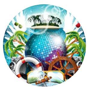 alfombrilla de ratón bola de disco y elementos de envío en el fondo tropical. - ronda - 20cm