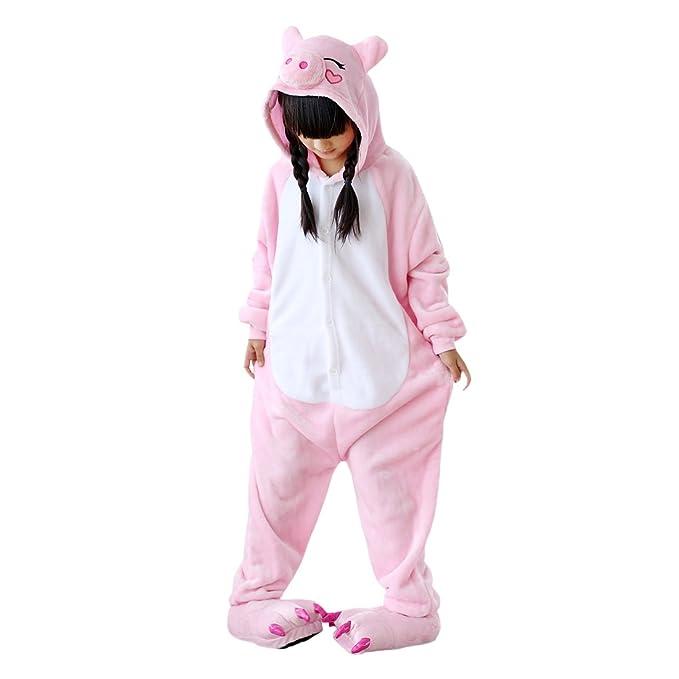 DarkCom Niños Kigurumi Pijama Enterizo Animal Cosplay Disfraces De Dibujos Animados Mono Dormir Pink Pig