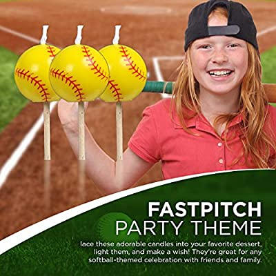Softball Birthday Candles (5 pack, spherical balls on picks) Girl's Fastpitch Softball - Extra Innings Collection by Havercamp: Sports & Outdoors