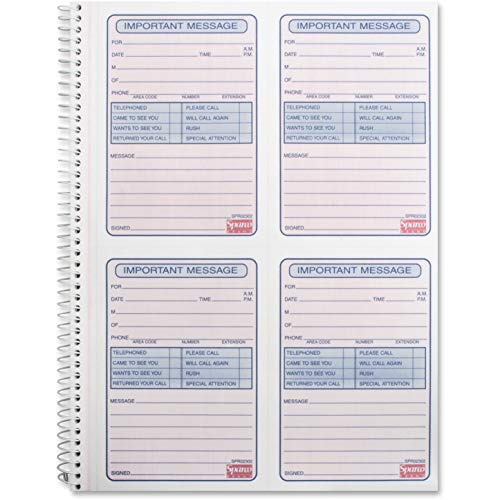 Sparco 02302 Telephone Message Book,2-Part,11