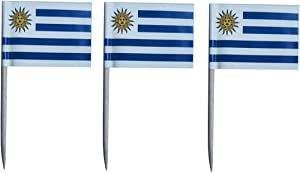 JAVD CYPS 100 Pcs Uruguay Flag Uruguayan Toothpick Flags, Small Mini Stick Cupcake Toppers Uruguay Flags,Country Picks Party Decoration Celebration Cocktail Food Bar Cake Flags