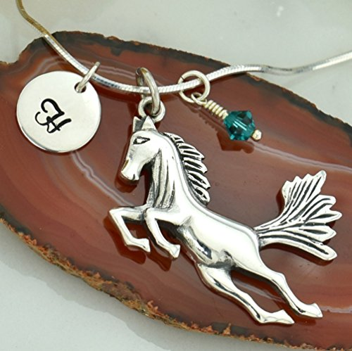 Personalized Horse Pendant Sterling Silver Custom Hand Stamped Initial Letter Round Tag Crystal Birthstone Charm Chain Customizable Mustang Wild Animal Necklace Gift