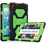 KIDSPR Case for Amazon Fire HD 8 Tablet (2016 Only) - Silicone [Protective] Shockproof Kids proof Impact Resistant Outdoor Cases Covers with Stand for 2016 Release Amazon Fire 8, (Black Green)