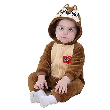 LSERVER Mameluco de Cosplay para Bebés Recién Nacidos Ropa de Arrastre Disfraz Unisexo de Franela con Capucha Estilo Animales