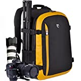 YuHan Oxford Large Capacity Multi-function Waterproof Anti-shock SLR/ DSLR Camera Bag Professional Travel Backpack Rucksack with Inner Padding and Rain Cover for Canon Nikon Sony Olympus Black+ Yellow
