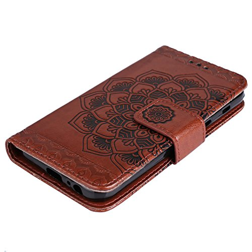 Samsung Rope Case Elegant Herzzer Leather Strap Soft Samsung Bookstyle Classic Wallet 2017 Case Brown Galaxy Galaxy Magnetic Mandala Case Pattern with 2017 for A520 for Stand Flower Smart Leather Inner A520 ZrtxrqUw