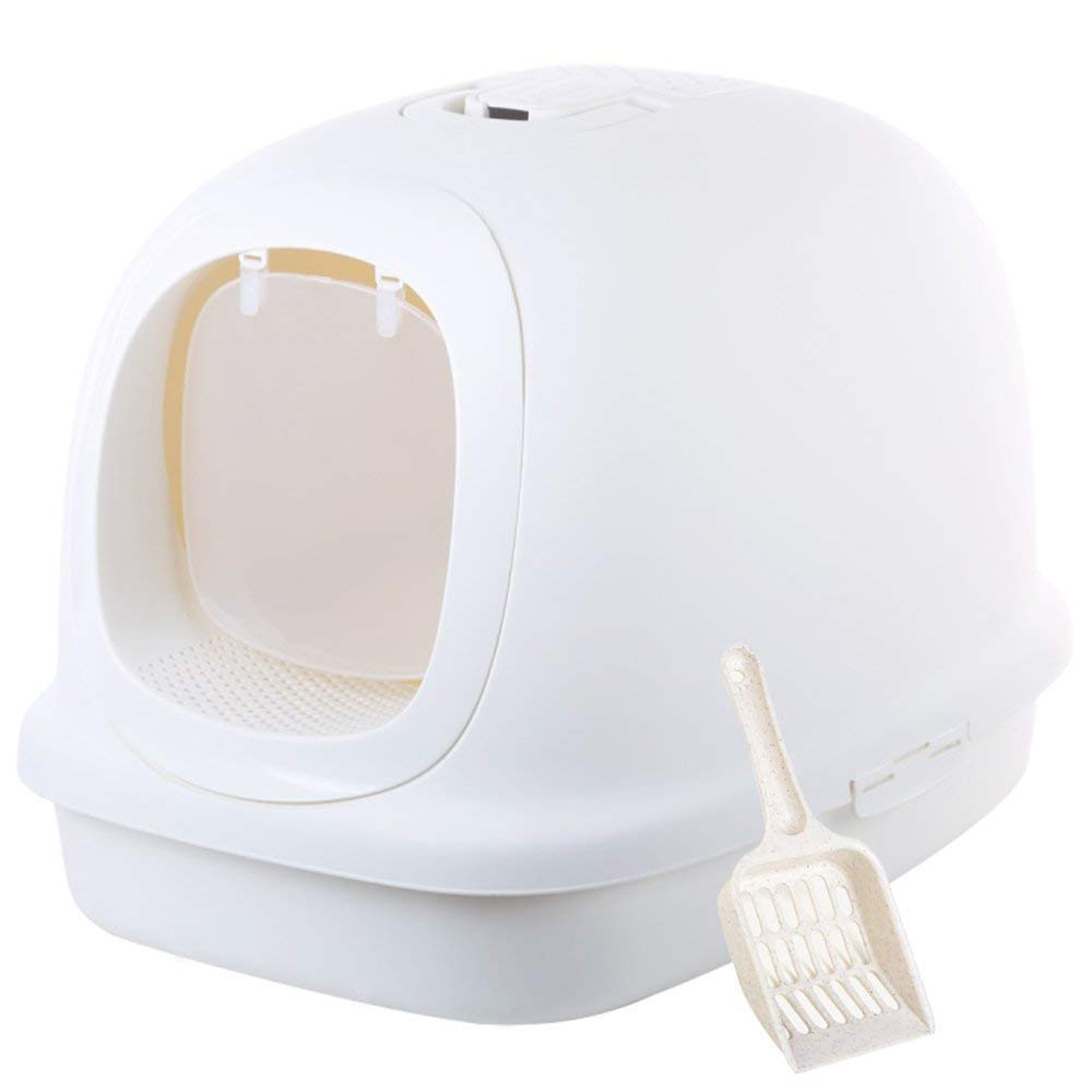 Pearl white Extra Large Enclosed Cat Litter Pan Boxes Jumbo Hooded Kitty Litter Pan with Litter Scoop (Pearl White)