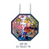 HF-95 21'' Tiffany Style Stained Glass Octagon Impressionism Window Hanging Glass Panel Sun Catcher