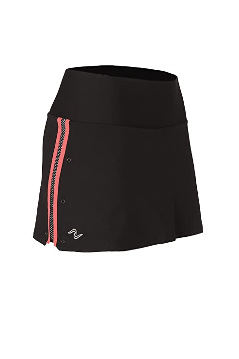 Naffta Tenis Padel - Falda-Short para Mujer, Color Negro/Coral Medio,