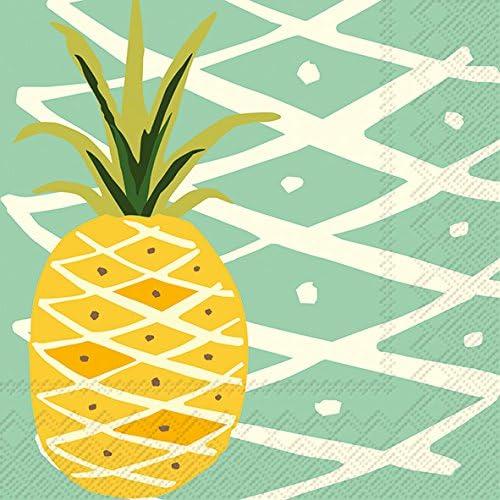 Ideal Home Range 40 Count 3-Ply Paper Tropical Beverage Drink Dessert Cocktail Napkins Pineapple Teal