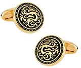 Cuff-Daddy Gold Chinese Dragon Cufflinks with Presentation Box