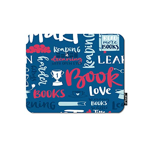 Pad Reading - oFloral Motivational Quote Gaming Mouse Pad Love Book Reading Calligraphic Letter Blue Wallpaper Decorative Mousepad Rubber Base Home Decor for Computers Laptop Office Home 7.9X9.5 Inch