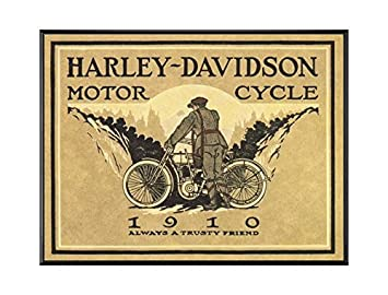 BaikalGallery Harley Davidson 1910 Cartel Enmarcado TAMAÑO ...