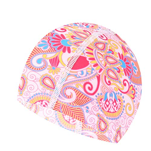 Sunny-Aha Colorful Fabric Swimming Cap Beach Protect Ears Hair Bathing Hat for Female Girls Long Hair,No.7,One ()