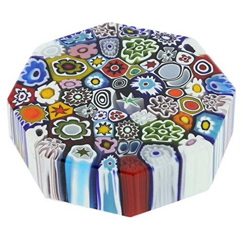 GlassOfVenice Murano Glass Millefiori Octagon Paperweight - Large - Octagon Paperweight