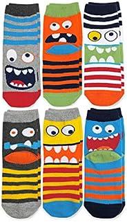 Jefferies Socks Boys' Little Monster Pattern Crew Socks 6 Pair Pack, M