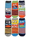Jefferies Socks Boys' Little' Monster Pattern Crew Socks 6 Pair Pack, Multi, Toddler