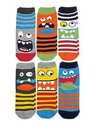 Jefferies Socks Boys' Little Monster Pattern Crew Socks 6 Pair Pack, Multi