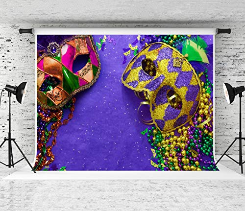 Kate 7x5ft Mardi Gras Backdrop for Photography Revelry Masks Celebration Backgrounds Photo Booth Props ()