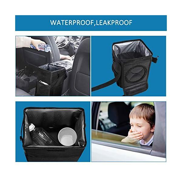 Winzwon Auto Mülleimer, IP68 Wasserdicht Abfalltasche, 6L Faltbar Abfalltasche Auto Tasche mit Deckel, Zusammenfaltbare…