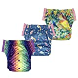 Large Swim Diaper Training Pants – Special Needs Reusable Cloth Diaper with Insert for Big Kids Girls or Boys 3-Pack (Size 3/35-60Lb, Girl-3)