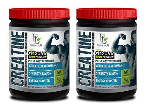 Muscle strength supplement - GERMAN CREATINE POWDER - MICRONIZED CREATINE MONOHYDRATE CREAPURE 300G 60 SERVINGS - Creatine monohydrate bulk - 2 CANS
